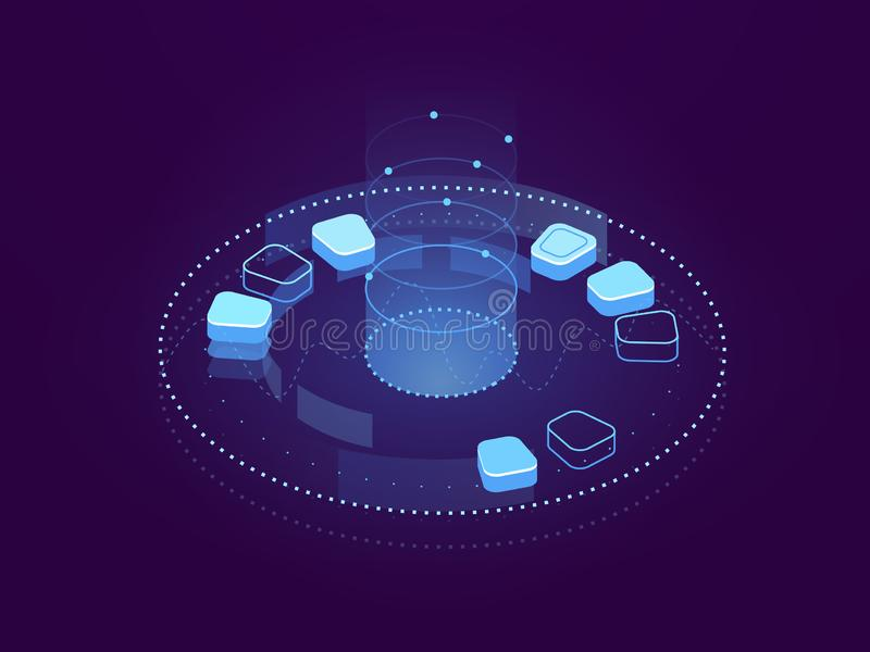 主持数据形象化、大数据处理、云彩的存贮和的服务器,互联网网际空间抽象横幅  库存例证