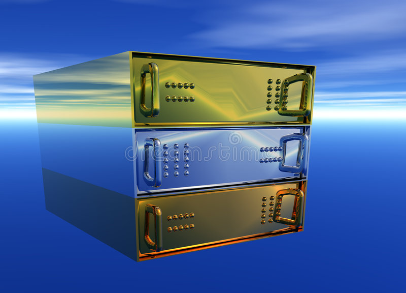 主持机架服务器银的古铜色金子 向量例证