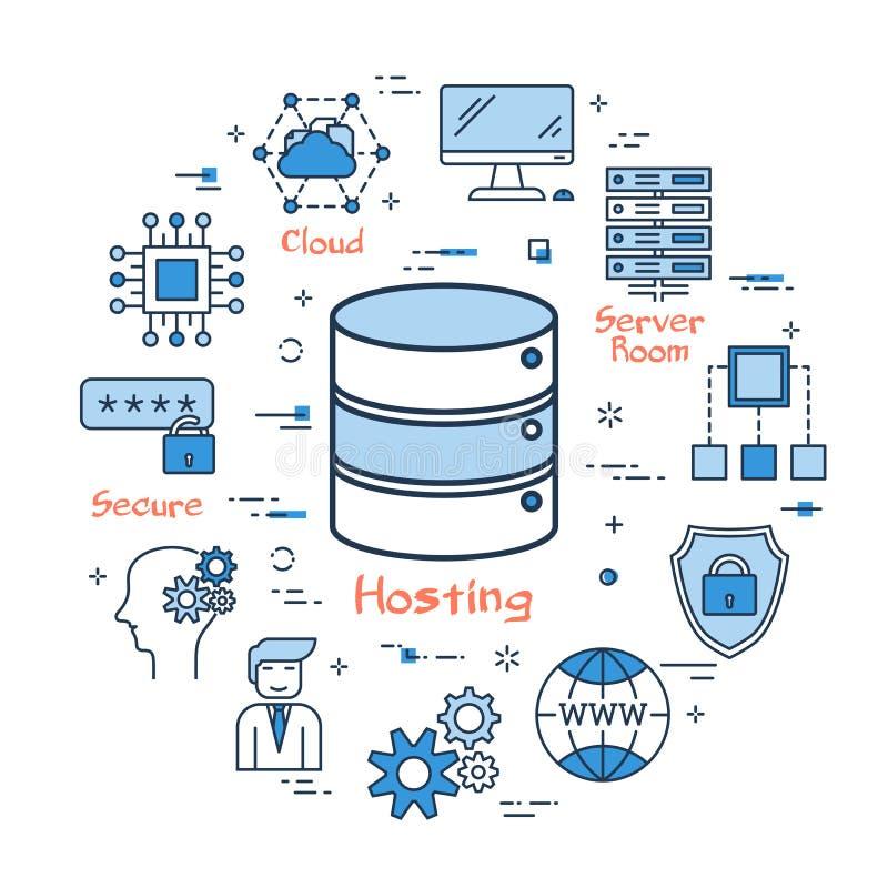 主持的互联网和获取文件存储 库存例证
