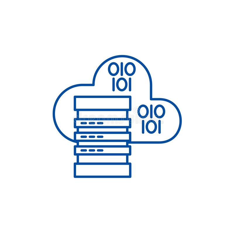主持线象概念的云彩 主持平的传染媒介标志,标志,概述例证的云彩 向量例证