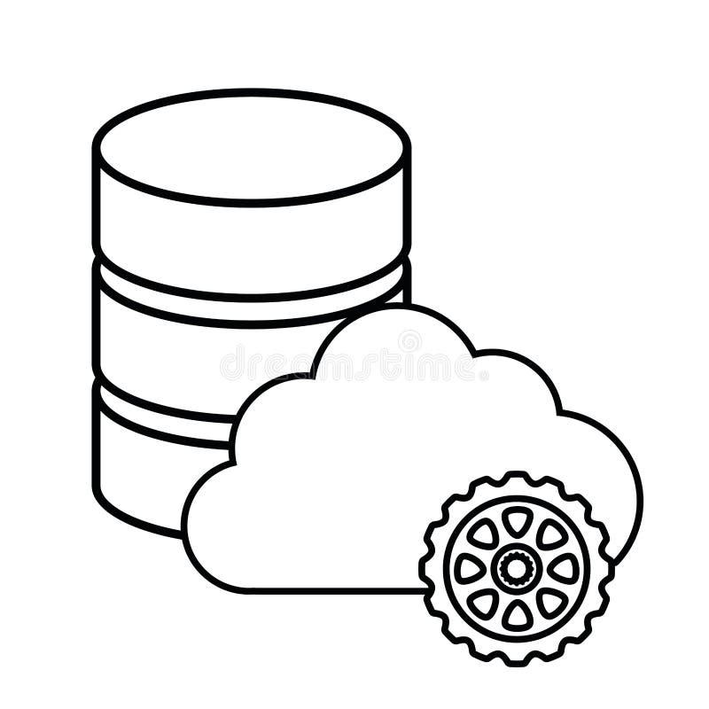 主持网络保安系统设计的云彩齿轮 向量例证