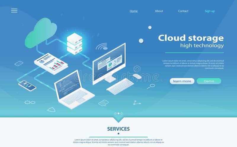 主持网络等量概念的云彩 联机计算存贮概念 向量例证