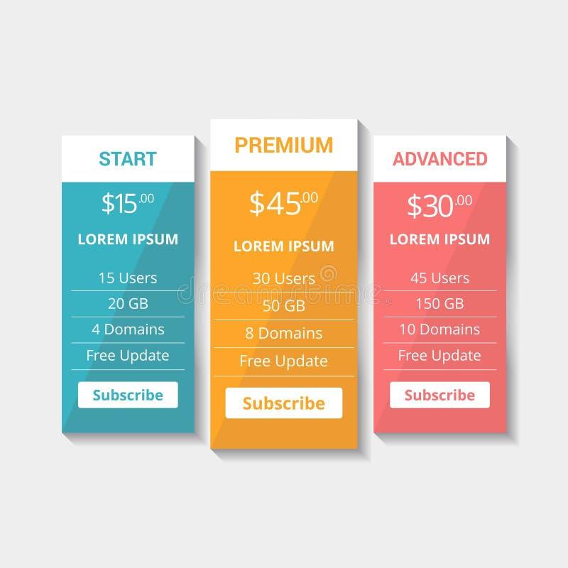 主持计划定价的网站制表传染媒介eps 向量例证