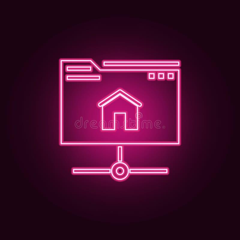 主持象 网发展的元素在霓虹样式象的 r 向量例证