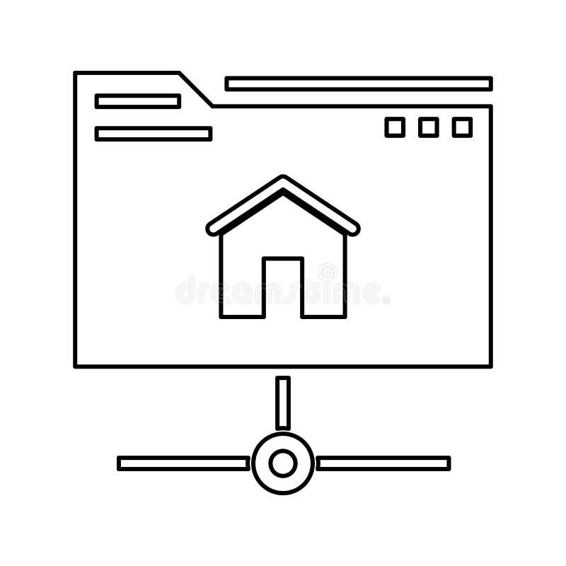 主持象 网络安全的元素流动概念和网应用程序象的 网站设计和发展的稀薄的线象, 向量例证