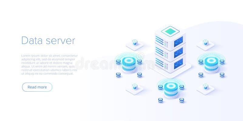 主服务器等量传染媒介例证 抽象3d datacenter或数据中心室背景 网络计算机主机 向量例证