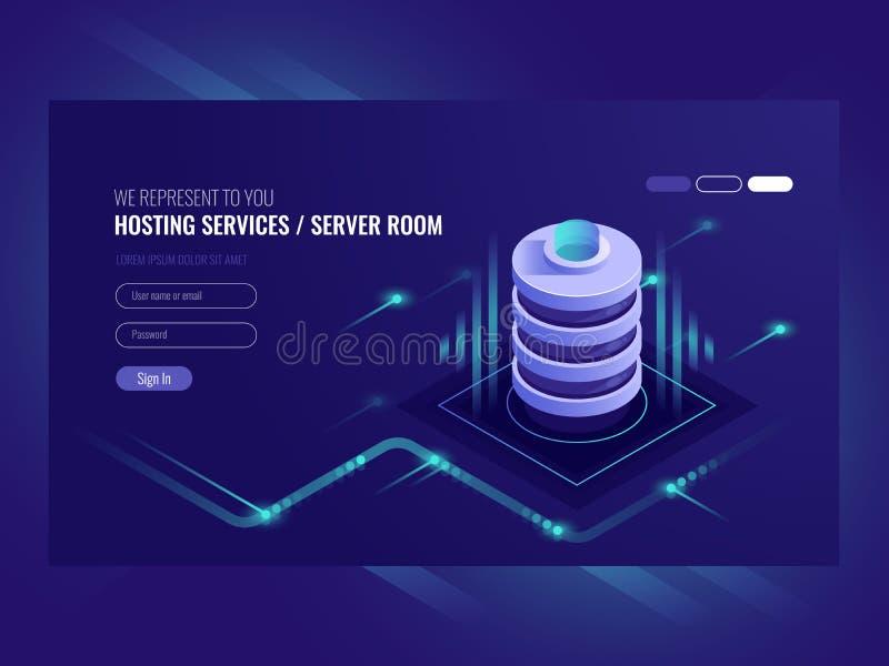 主机服务,数据中心,服务器服务器室,页模板在信息技术题材sometric传染媒介的 向量例证