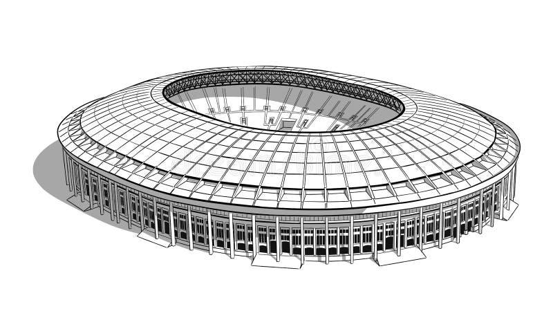主要体育场的剪影在莫斯科 向量例证