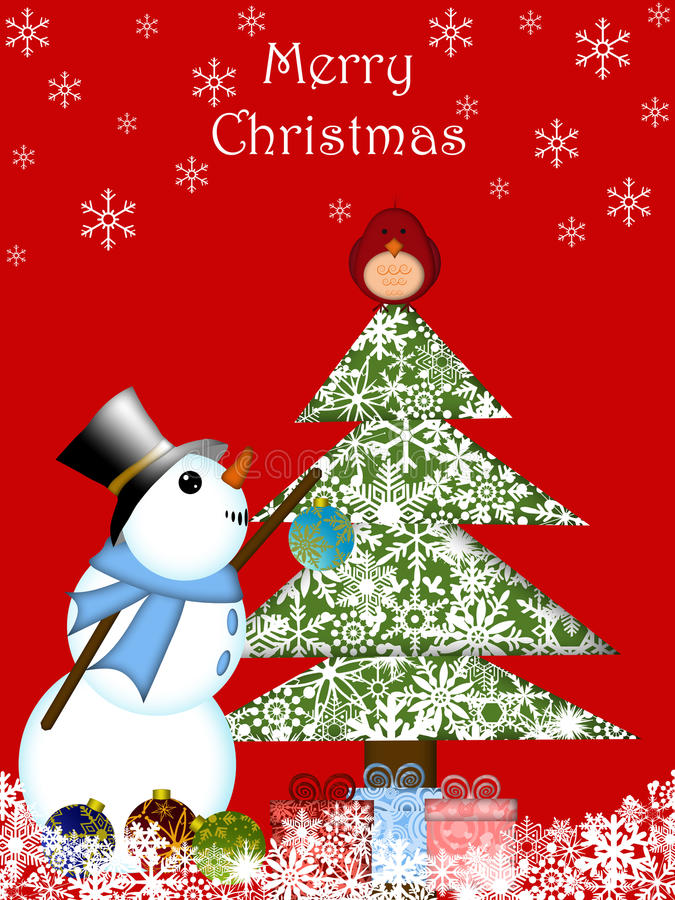 主要圣诞节停止的装饰品红色雪人 库存例证