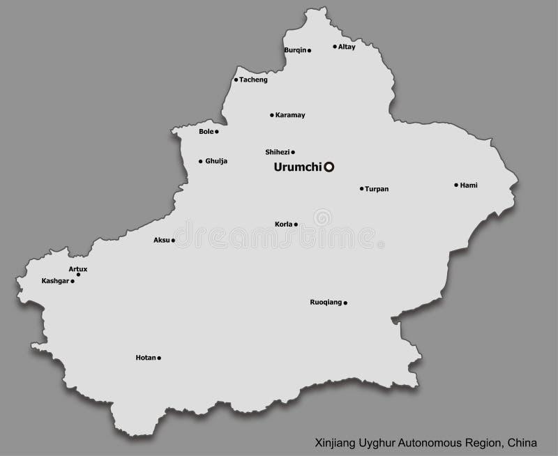 主要城市新疆Uyghur自治区,中国地图  向量例证