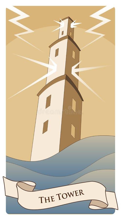 主要奥秘占卜用的纸牌 塔 在汹涌的海的大塔,在风暴和创伤下由闪电 向量例证