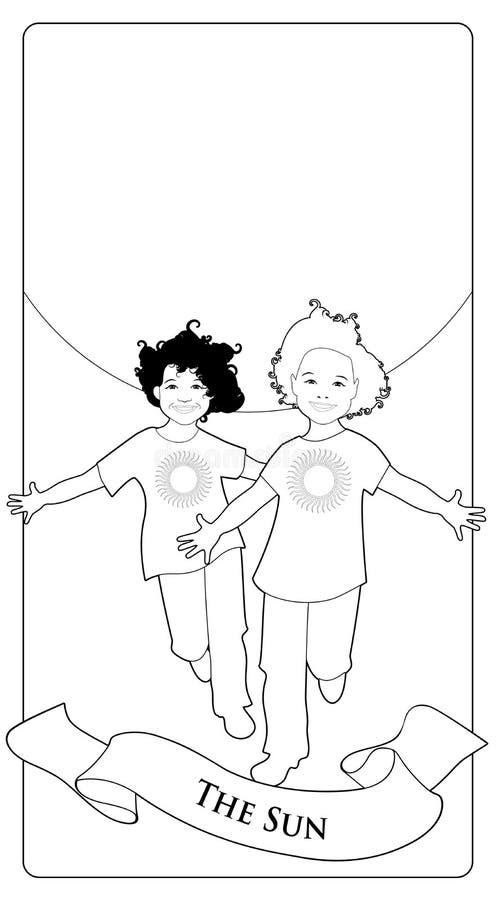 主要奥秘占卜用的纸牌 星期日 跑与在太阳前面的开放胳膊的两个愉快的双男孩 库存例证