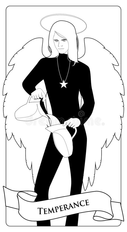 主要奥秘占卜用的纸牌 节制 与年轻人出现和衣裳,大翼,公平的头发,从o的倾吐的水的天使 皇族释放例证