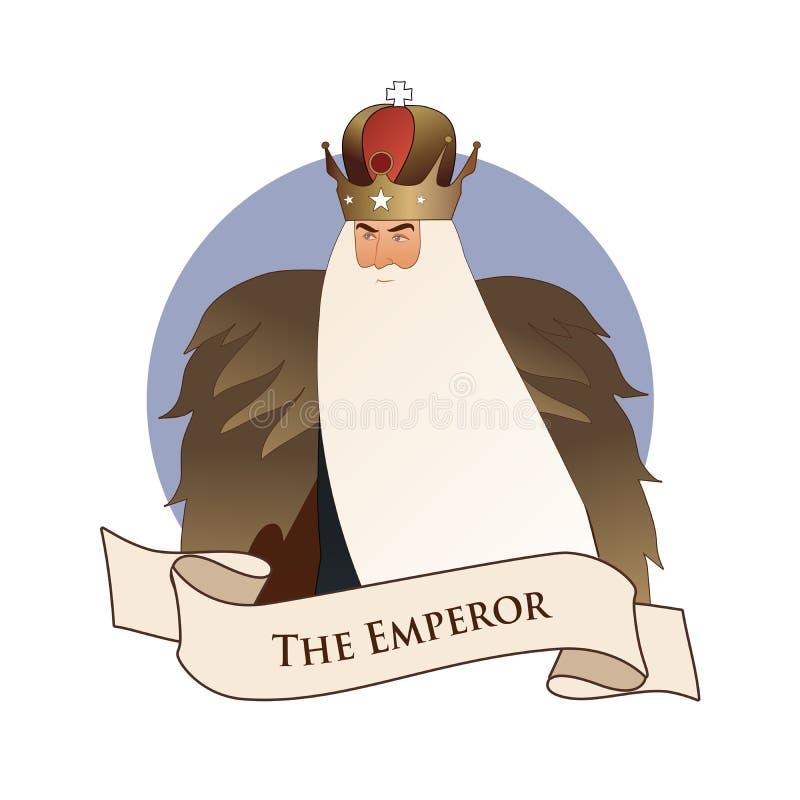 主要奥秘象征占卜用的纸牌 ?? 有冠和长的白色胡须和毛皮海角的人,隔绝在白色背景 库存例证