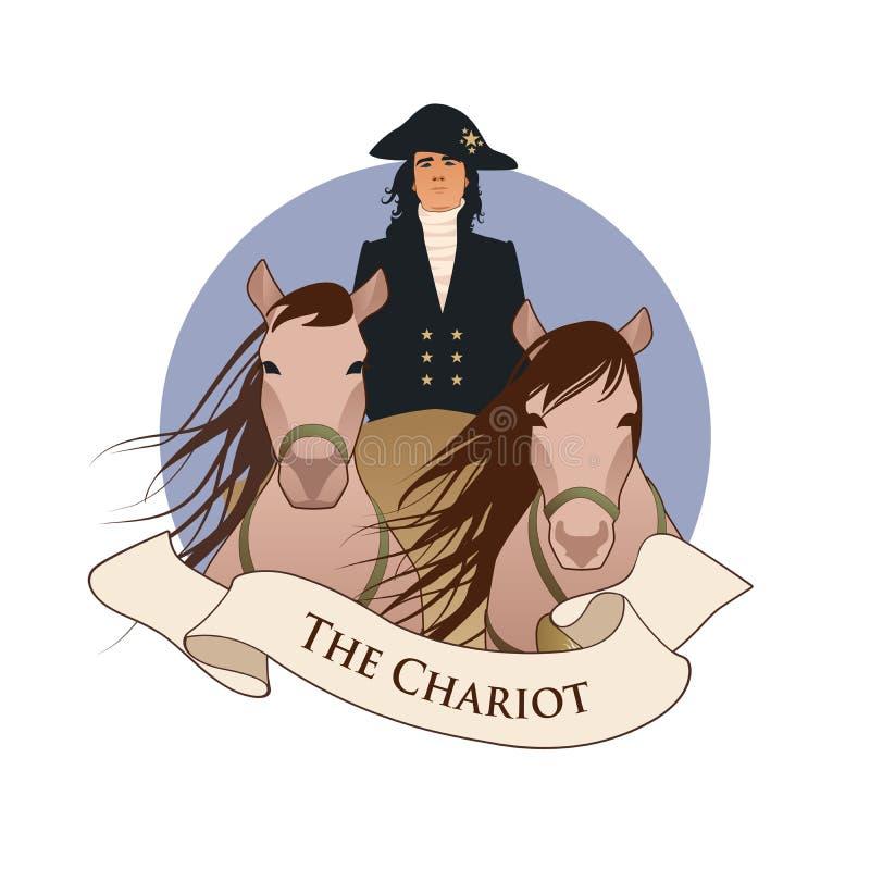 主要奥秘象征占卜用的纸牌 运输车 运输车拉扯了由两匹马和驾驶由号衣和帽子的,iso一位典雅的马车夫 库存例证