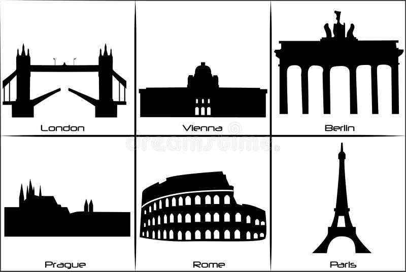 主要欧洲的地标 向量例证