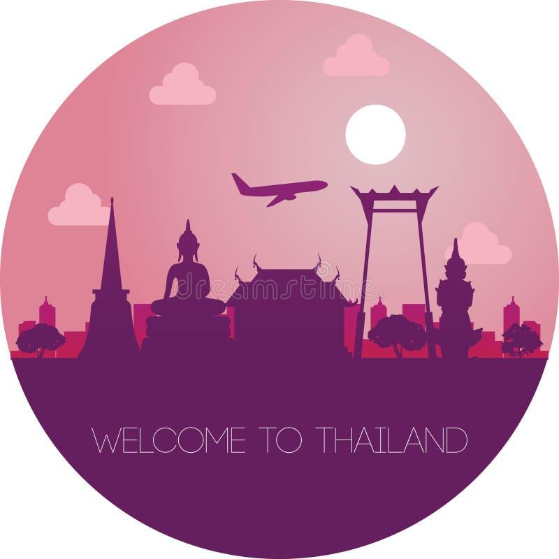 主要泰国地标,概述剪影设计 库存例证