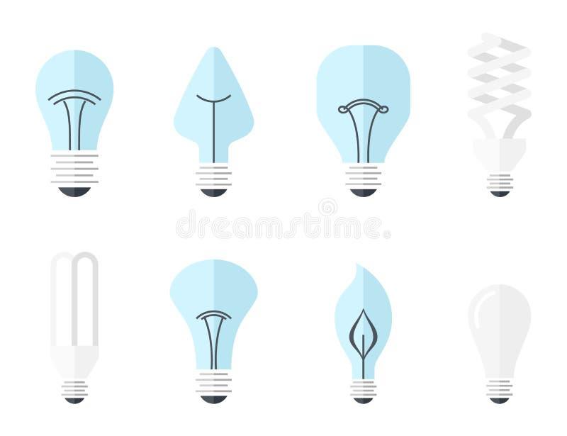 主要电灯类型-白炽光电灯泡、卤素灯、cfl和被带领的灯的传染媒介例证 平面 库存例证