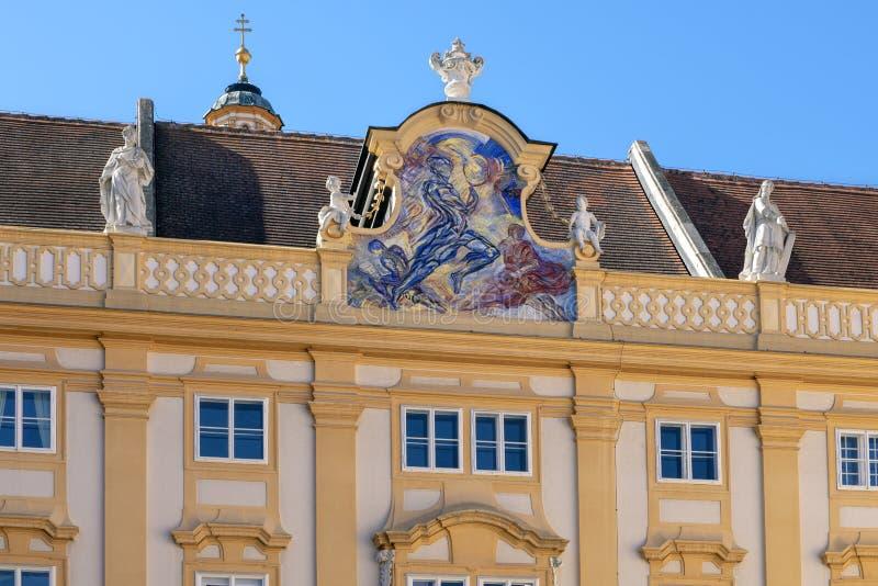 主要的优点由彼得Bischof和赫尔穆特Krumpel的Sapientia慎重1988年在梅尔克修道院高级教士的庭院,降低Austri 免版税图库摄影