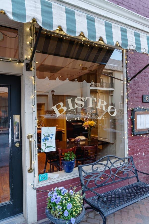 主要的小餐馆在街市列克星敦,弗吉尼亚 图库摄影