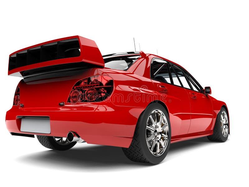 主要红色现代游览的车的尾巴视图 向量例证