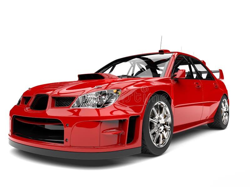 主要红色现代游览的车的车灯特写镜头射击 库存例证