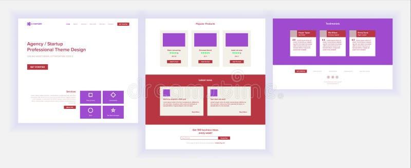 主要网页设计传染媒介 网站企业屏幕 着陆模板 创新想法 工程师设备 采矿金钱 库存例证