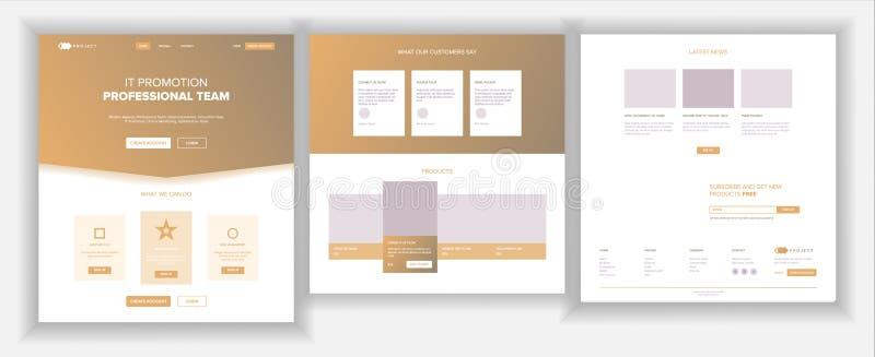 主要网页设计传染媒介 网站企业屏幕 着陆模板 创新想法 工程师设备 金钱薪水 向量例证