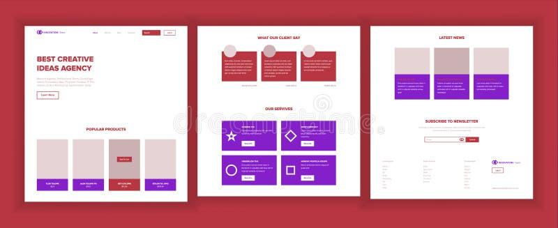 主要网页设计传染媒介 网站企业样式 着陆模板 抽象项目盖子 信用顾客 库存例证