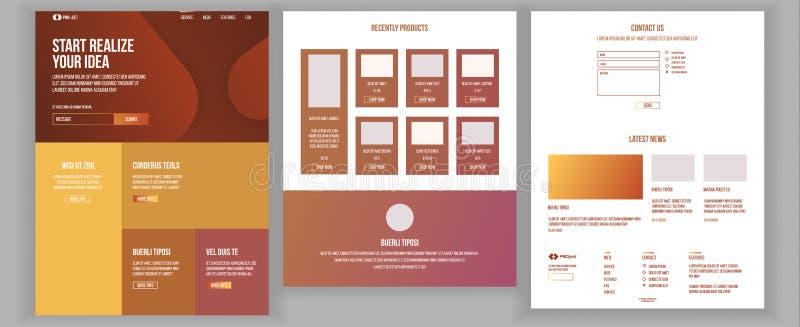 主要网页设计传染媒介 网站企业样式 着陆模板 抽象项目盖子 想法结构 合作伙伴 向量例证