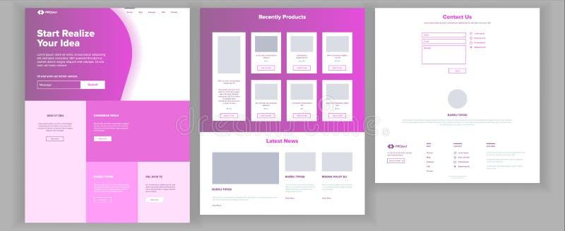 主要网页设计传染媒介 网站企业样式 着陆模板 抽象项目盖子 想法结构 财务 皇族释放例证