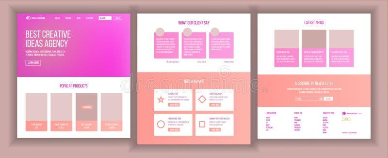 主要网页设计传染媒介 网站企业样式 着陆模板 抽象项目盖子 想法结构 库存例证