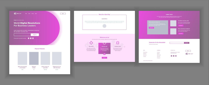 主要网页设计传染媒介 网站企业现实 着陆模板 创造性的项目 信息工具 开采 向量例证