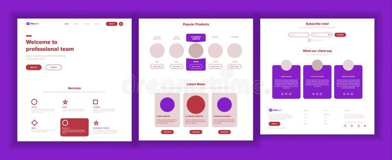 主要网页设计传染媒介 网站企业现实 着陆模板 创造性的项目 信息工具 财务 向量例证