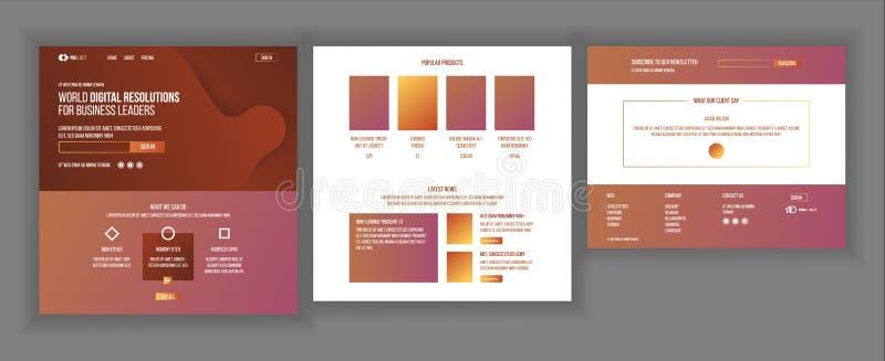 主要网页设计传染媒介 网站企业现实 购物的网上着陆模板 创造性的项目 信息 库存例证