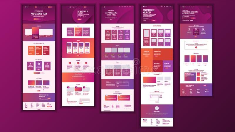 主要网页设计传染媒介 网站商业图表 着陆模板 未来能源计划 卡片信用 总公司 库存例证