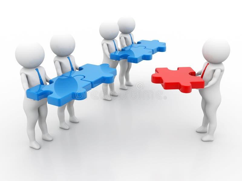 主要部分,企业队工作概念 3d回报 向量例证
