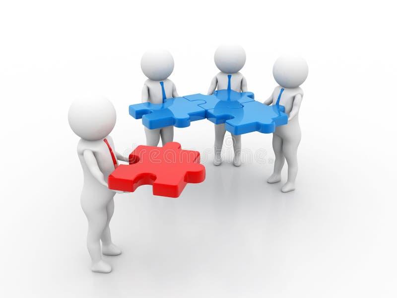 主要部分,企业队工作概念 3d回报 库存例证
