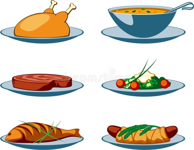 主要食物的图标 皇族释放例证