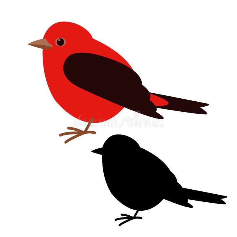主要鸟,传染媒介例证,平的样式,黑剪影 向量例证