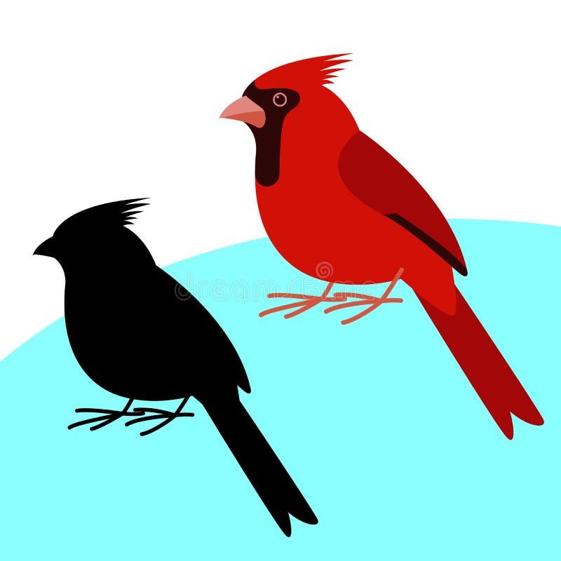 主要鸟,传染媒介例证,平的样式,黑剪影 库存例证