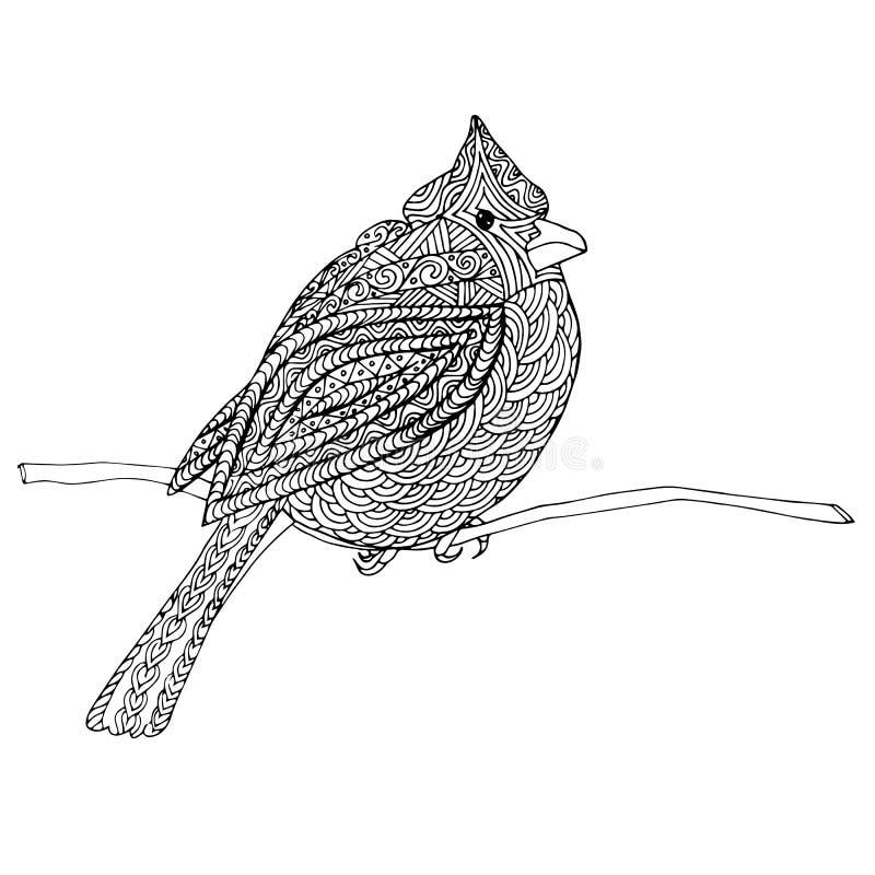 主要 手拉的单色红色主要鸟剪影 皇族释放例证