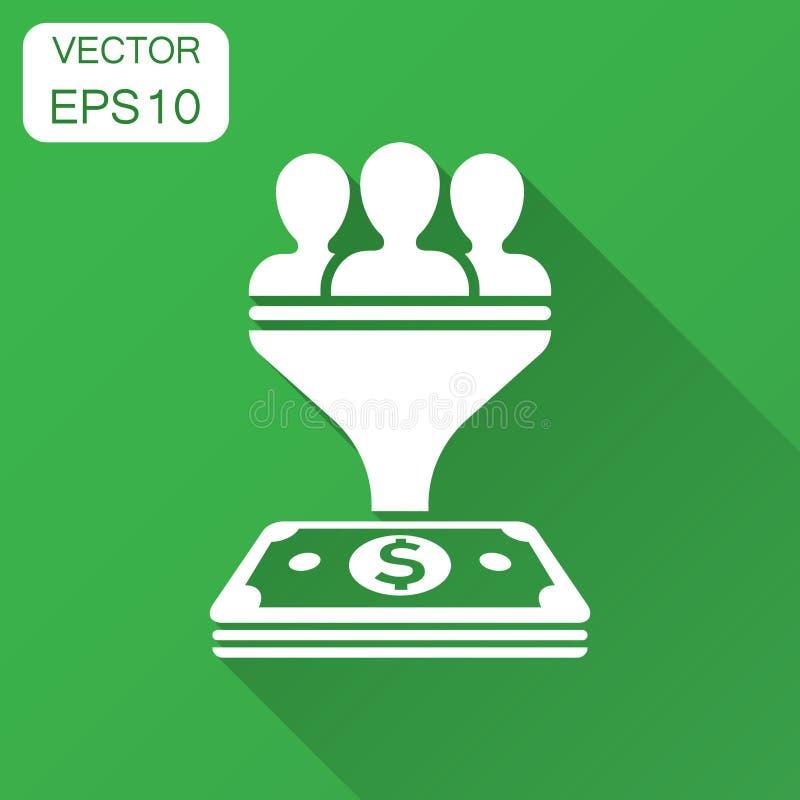 主角在平的样式的管理象 与人,金钱与长的阴影的传染媒介例证的漏斗 向量例证