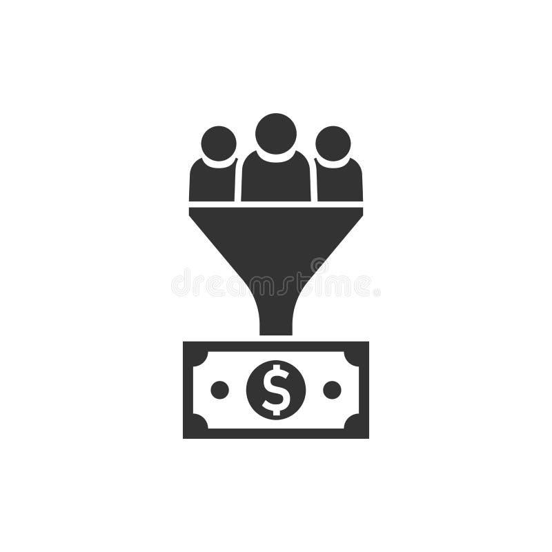 主角在平的样式的管理象 与人,金钱ve的漏斗 库存例证