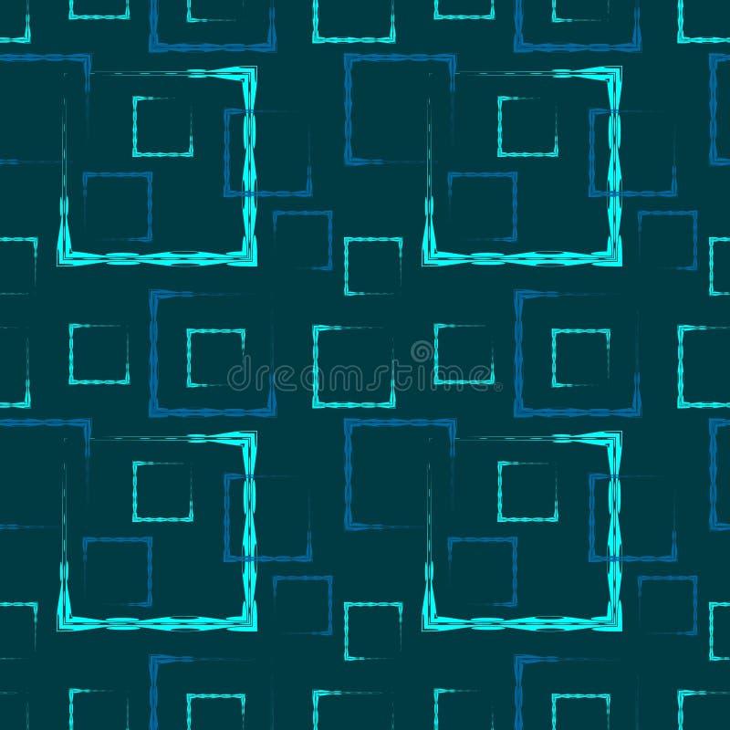 主角雕刻了正方形和框架的一个抽象蓝色背景或样式 库存例证