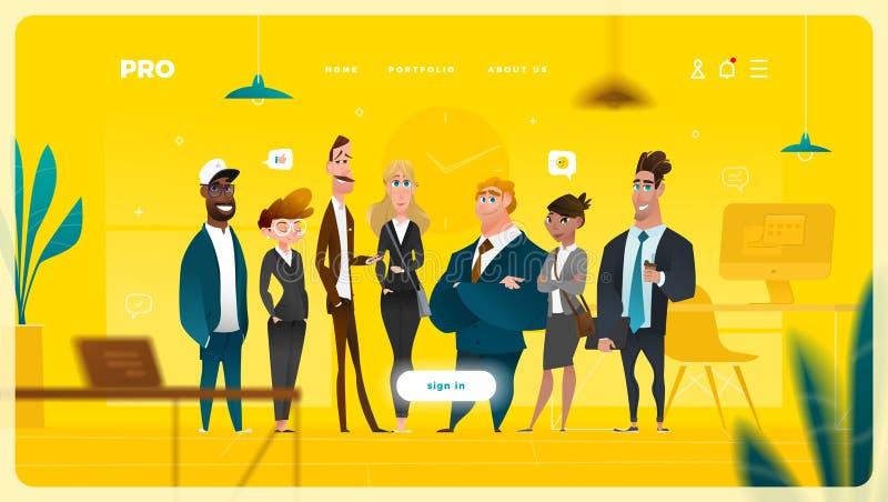 主页与企业卡通人物的网络设计 库存例证