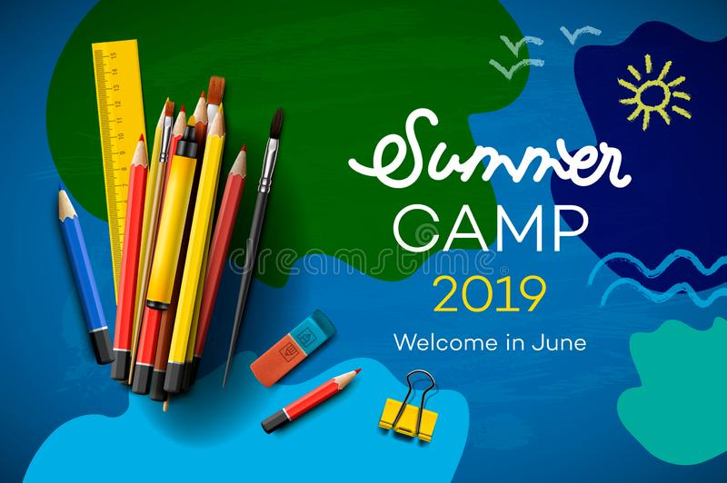 主题的夏令营海报2019年,创造性和五颜六色的横幅,传染媒介例证 库存例证