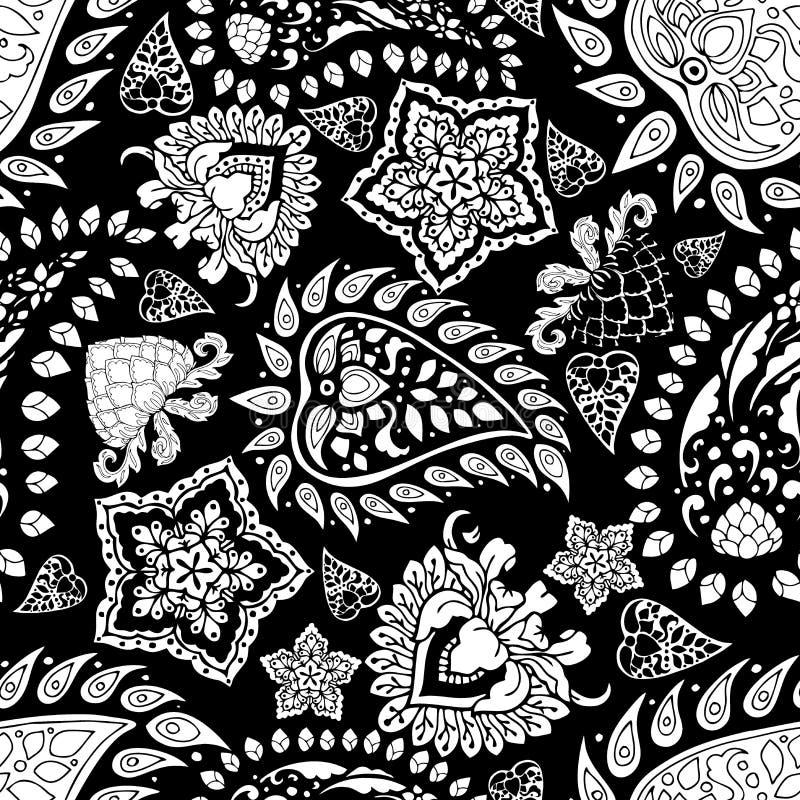 主题黑白佩兹利无缝的样式花卉背景 向量例证