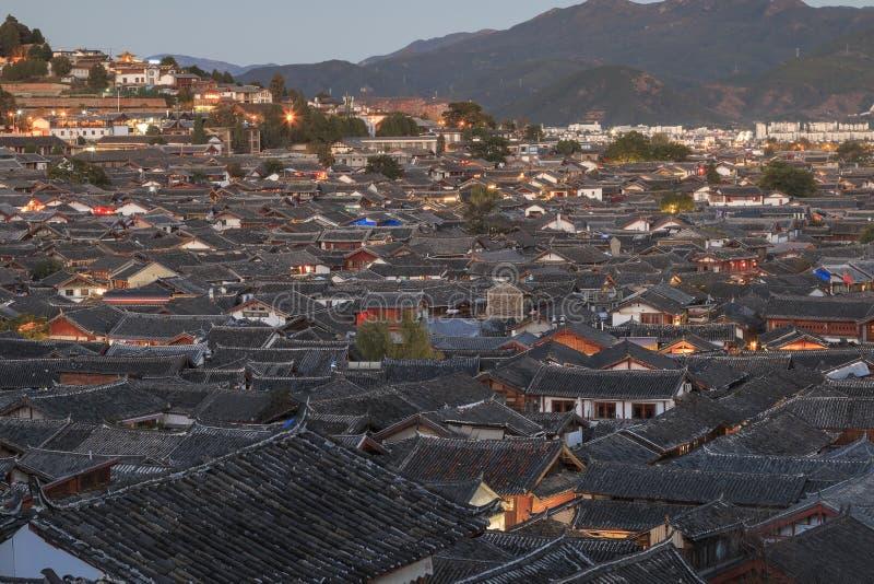 丽江老镇鸟瞰图在云南,中国 图库摄影