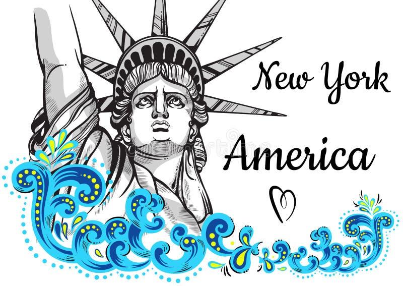 举世闻名的地标收藏 美国,纽约 城市自由newyork雕象日落 装饰的美丽传染媒介艺术品五颜六色 向量例证
